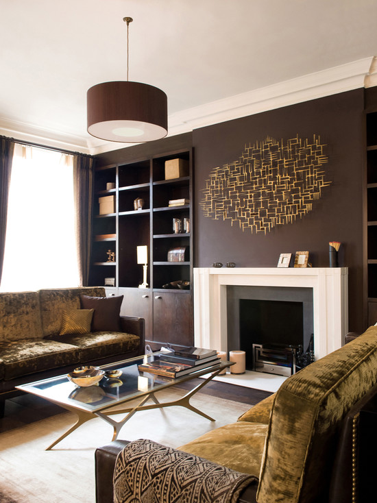 Genial ... Eclectic Brown Living Room ...