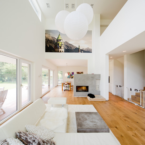 ... Simple Modern House With White Color Skylight Living Room Sofa Design