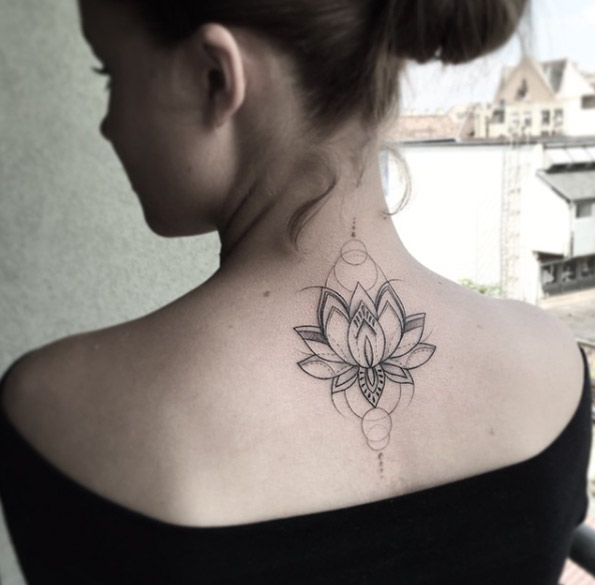 Sunflower Tattoo Back Of Neck Flowers Healthy