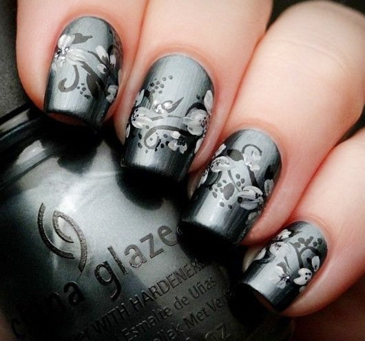 100 creative and unique nail art ideas and designs gravetics gray base paint prinsesfo Choice Image