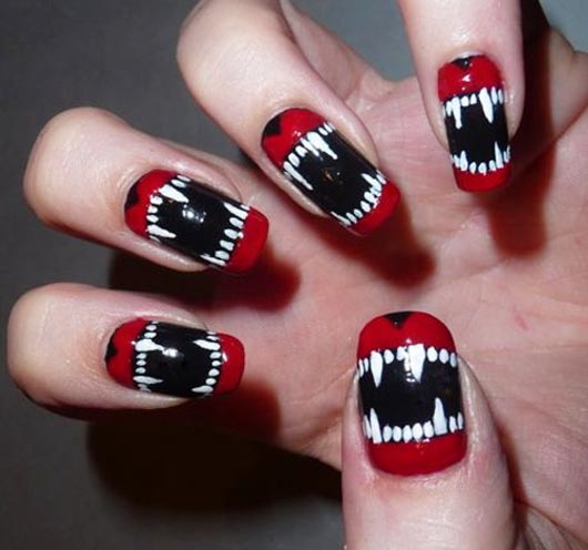 ... maniacal-look-by-combining-red-white-and-black ... - 100 Creative And Unique Nail Art Ideas And Designs - Gravetics
