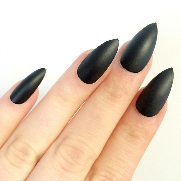 Contemporary Matte Black Stiletto Nails Photos - Nail Paint Design ...