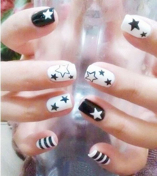 ... Black and White Star Nail Art ... - 40 Beautiful Star Nail Art Designs And Ideas For 2017 - Gravetics