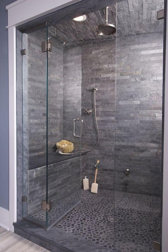 Bathroom Shower Tile Wow Love This Dark Stone Shower Cave!