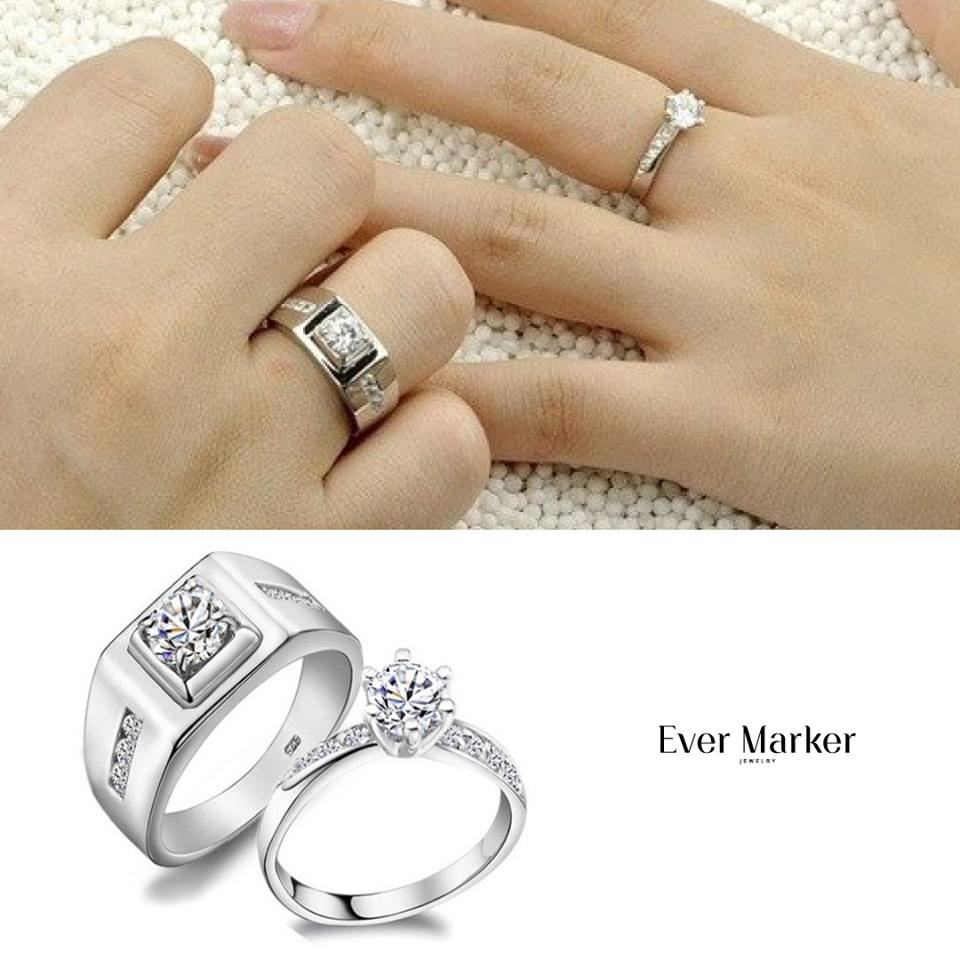 ring promise rings couple grooved evermarker gold wedding stainless finish set az channel products rose sandblast band