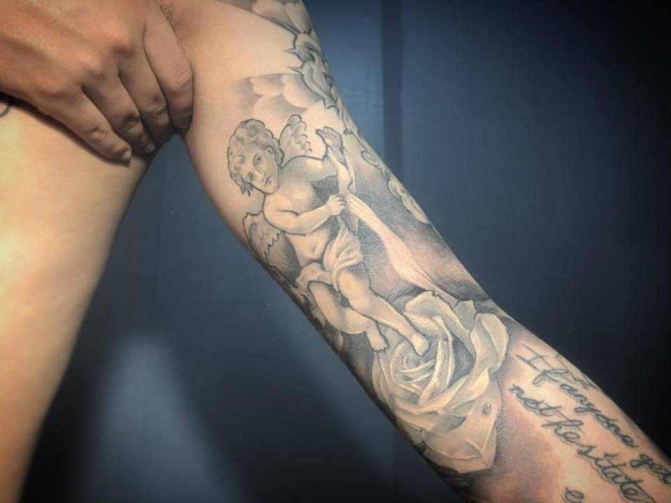 8adcd4856adf0 3D Angel Tattoo Inked On Back Adorable Angel Tattoo On Upper Back Adorably  Stylish Angel With Flowers On Sleeve ...