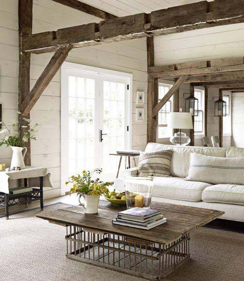 ... Adorably Stylish Neutral Rustic Country Style Living Room ...