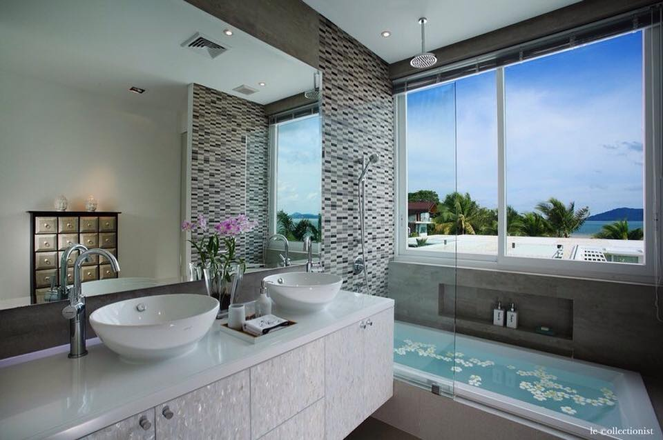 Amazing Vanity And Bathtub With Big Window For Natural View