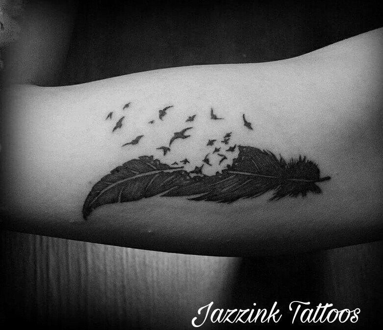 bb43a5bda ... Tattoo On Leg Awesome Feather With Flying Birds. Advertisement