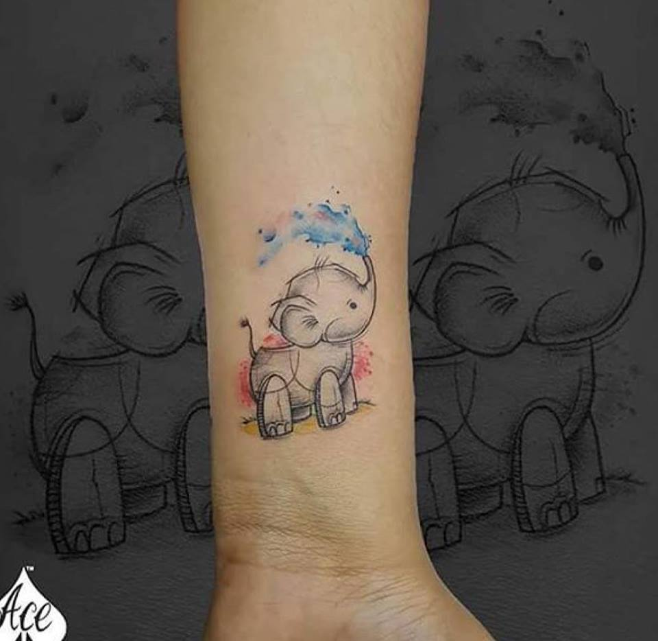 Baby elephant tattoos design