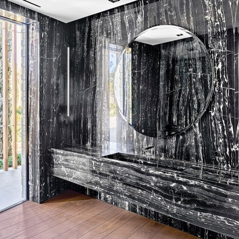 Black U0026 White Stone Wall With Round Mirror Perfect For Bathroom ...