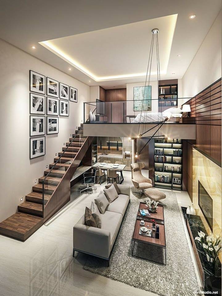 Fabulous Studio Apartments With Contemporary Stairs, Study U0026 Wall Decor