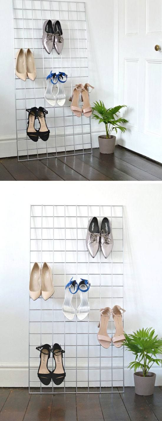 Grid Shoe Storage Display With Shoe Storage For Closets
