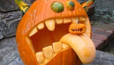 Halloween pumpkin with a tongue