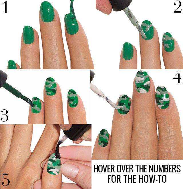 40 easy to do spring nail art tutorials that are as easy as a cakewalk impressive camo nail art prinsesfo Image collections