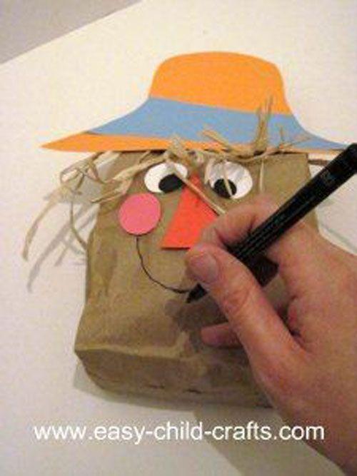 Paper Bag Craft Ideas For Kids Part - 20: Paint Stick Scarecrow Paper Bag Scarecrow ...
