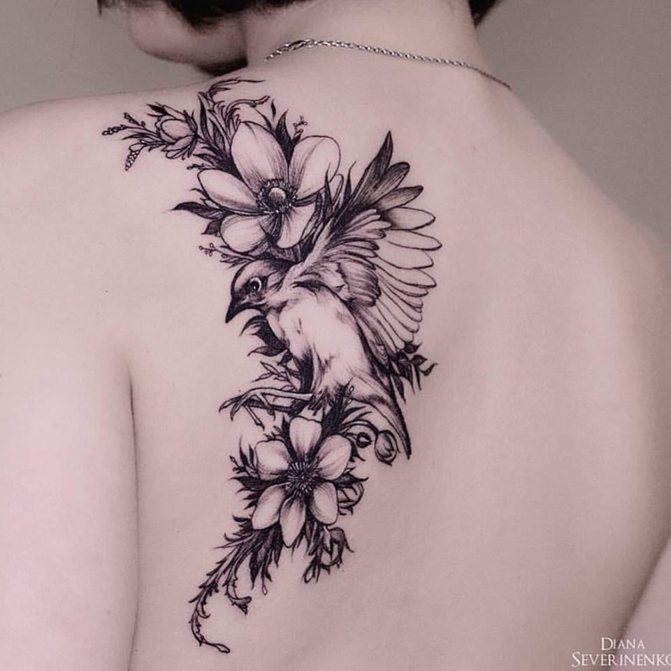 Flowers Made Black Brids: 55 Cool Bird Tattoo Ideas That Are Truly In Vogue