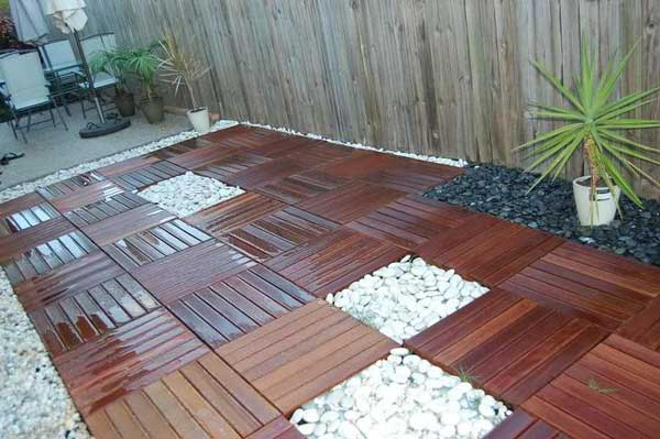 Add Decorative Gravel Patches To Wood Tiles Floor