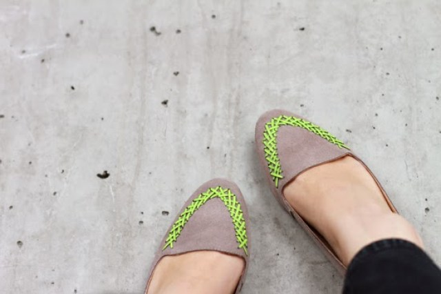 Add a neon accent to neutral shoes