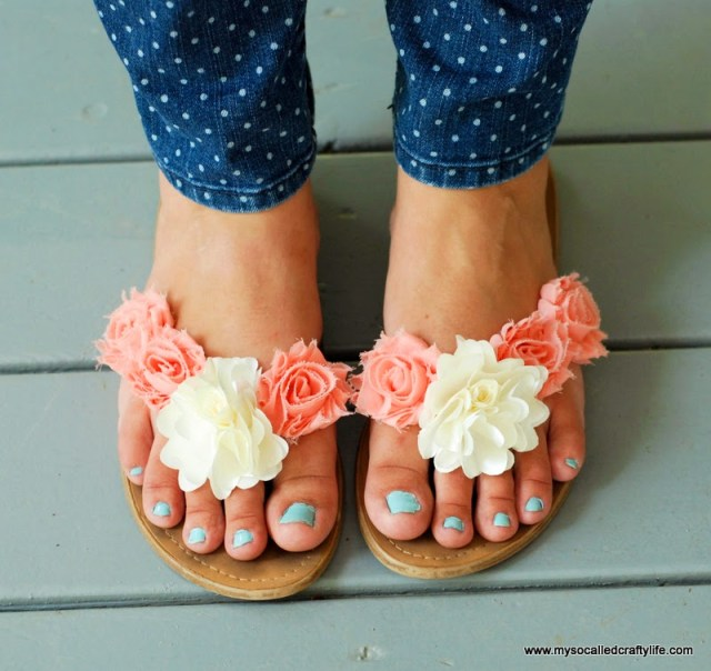 Add fabric flowers to sandals for a cute summery style