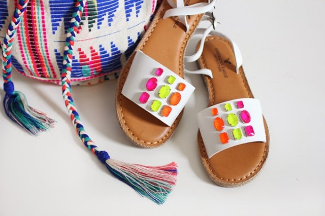Add neon gems to plain white sandals