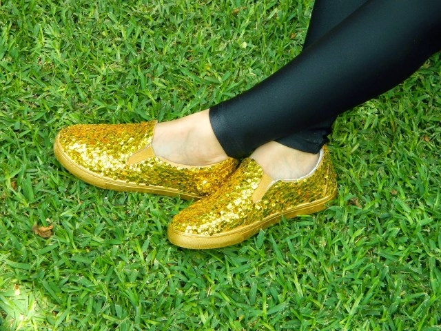 Add some bling to a boring pair of shoes with gold sequins