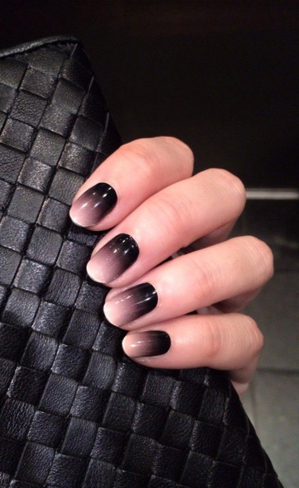 Black and grey ombre nails