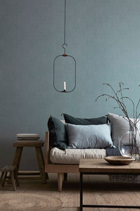 Grey and blue Scandinavian living room