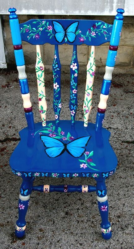 40 vibrant diy painted chair design ideas - Hand painted furniture ideas ...