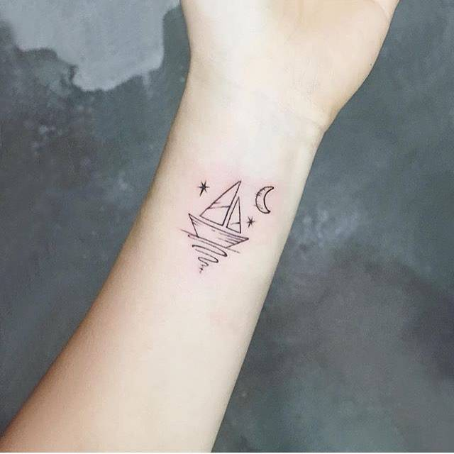 Small sailboat on the inner wrist