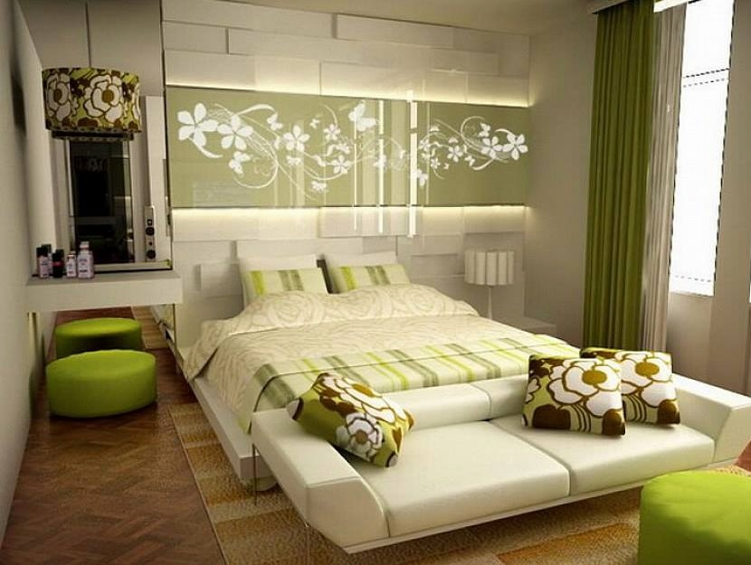 Stylish Green Theme Contemporary Master Bedroom Design