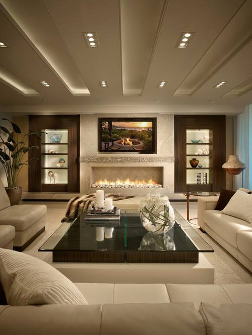 ... Amazing Living Room In Beige With Beautiful Wall Decor, Fire Pit U0026  Glass Top Table ...