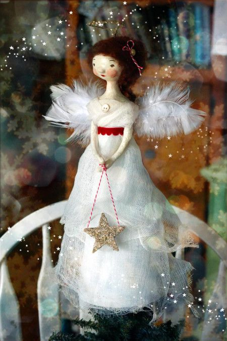 angel tree topper beautifully red