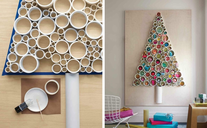 christmas tree arranging pieces of pvc pipe on your walls - Christmas Decorations Ideas 2017