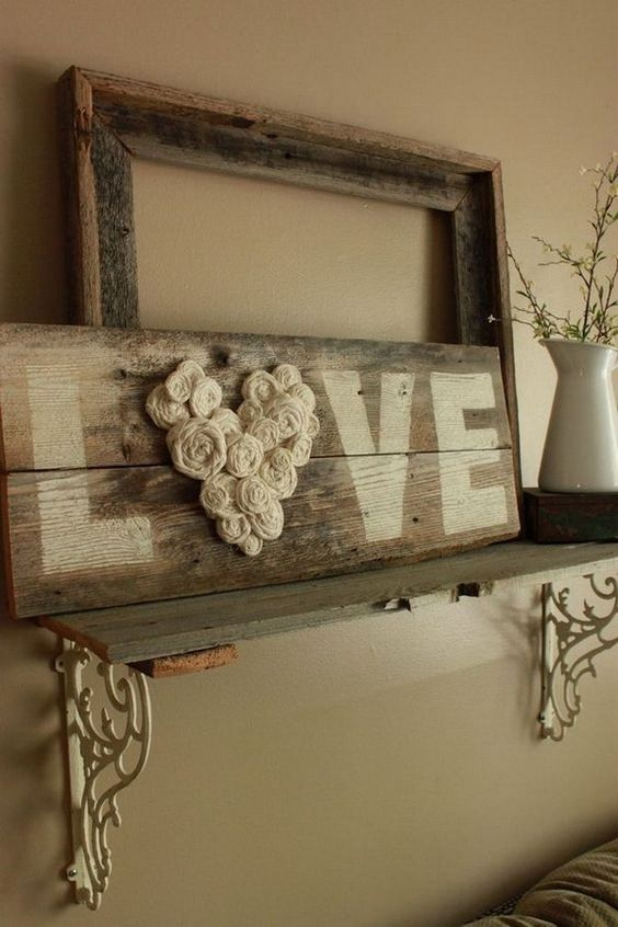 ... DIY Fence Wood LOVE Sign ... & 40 Beautiful DIY Rustic Wall Decor Ideas