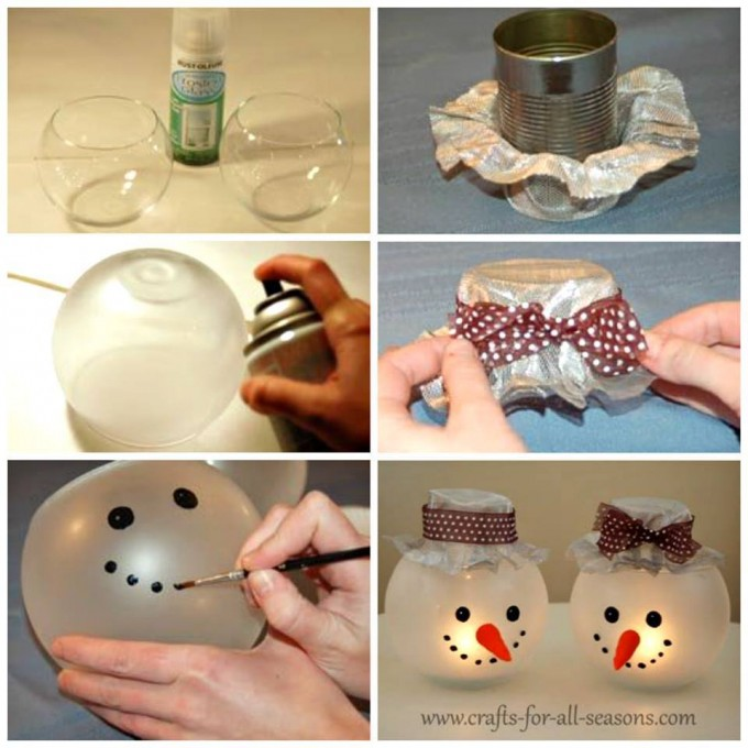 diy snowman candle holders