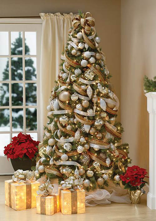 gold and white christmas tree decorating ideas - Gold Christmas Tree Decorating Ideas