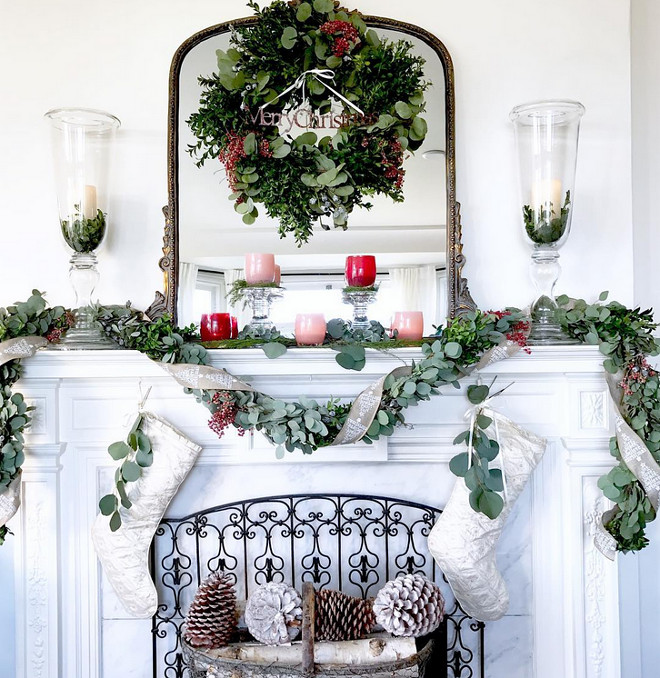 decor magnolia christmas mantel garland