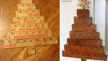 Old wooden rulers into a Christmas tree