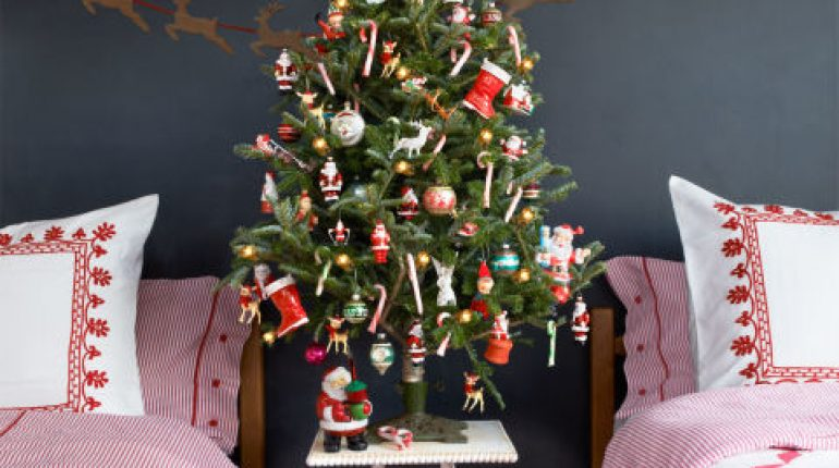 Retro decoration with vintage tree stand & old school ornaments