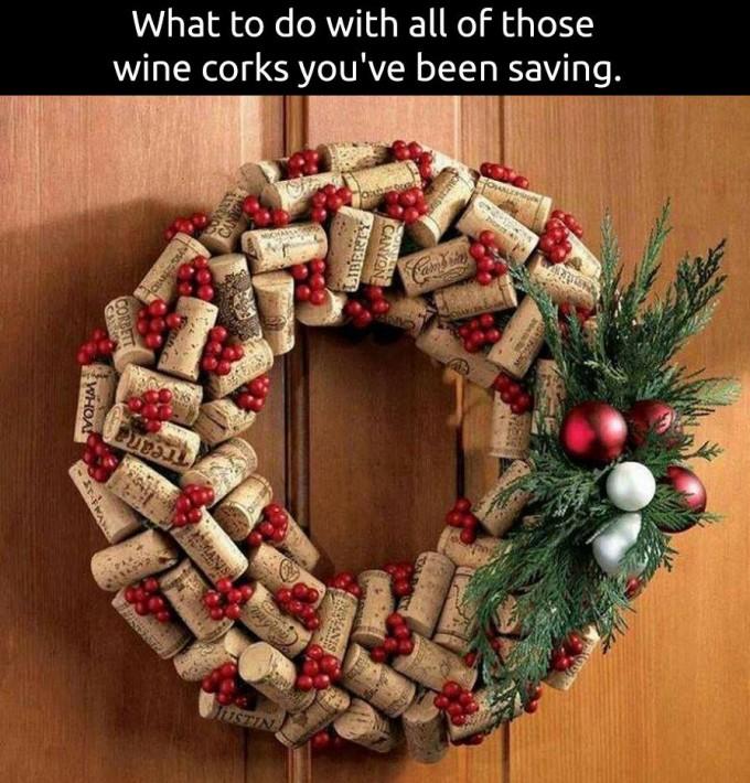 55 best diy christmas decorations ideas wine cork wreath solutioingenieria Images
