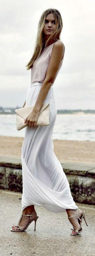 4461fece92d2  13 Blush top with amazing white fold maxi skirt. + Light Pink High Heels +  Handbag. Pic Source