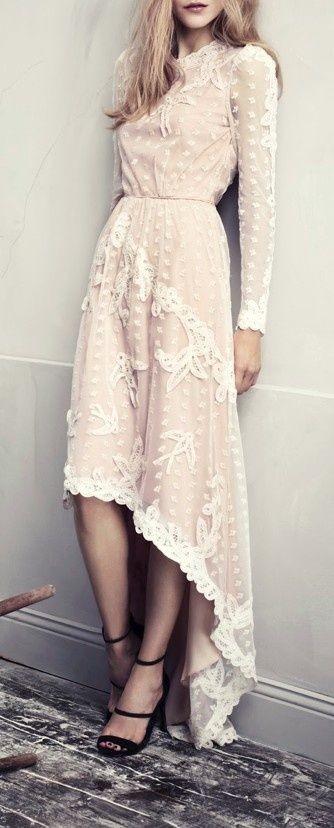 aca026feeea1  27 Nude asymmetrical off white lace maxi dress + Black High Heel. Pic  Source