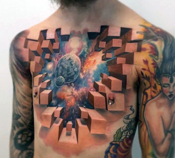 50 Awesome 3D Chest Tattoo Designs